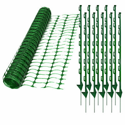 Green Plastic Dog Pet Chicken Event Safety Fencing & 10 Green Plastic Pins Posts