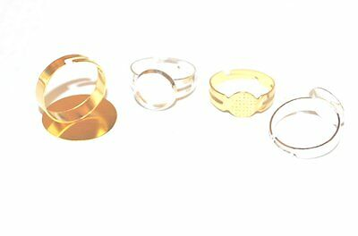 5 Brass Adjustable Jewellery Craft Ring Blanks / Pads - Choose Size