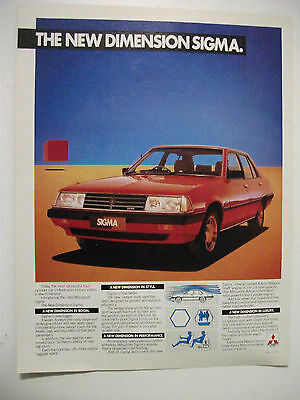 1982 New Dimension Mitsubishi Sigma Fullpage Colour Magazine Advertisement