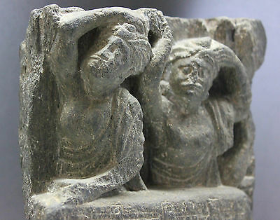 B.c.a.d. Art - 300 A.d. Gandharan Schist Frieze Of Attendants
