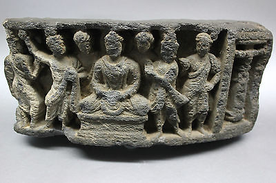B.c.a.d. Art - 300 Ad Gandharan Schist Frieze Of Buddha And His Attendants