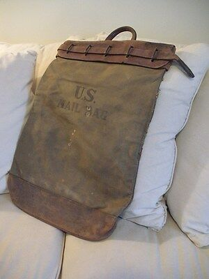 Antique Circa 1920's ~ U.S.Postal Service Mail Dispatch Bag ~ Leather & Canvas