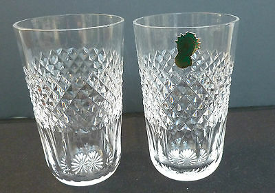 Waterford Crystal Lismore Pair Of Highballs Old Pattern New Unused Rare