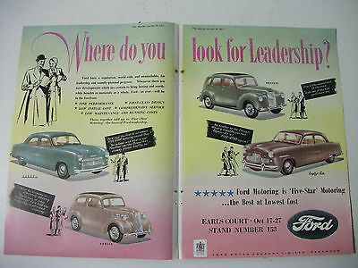 1951 British Ford Motor Show 2 Page Colour Magazine Advertisment
