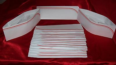 20 NEW 50`s Soda Jerk Ice Cream Paper Party Overseas Hats White RED Stripe Craft