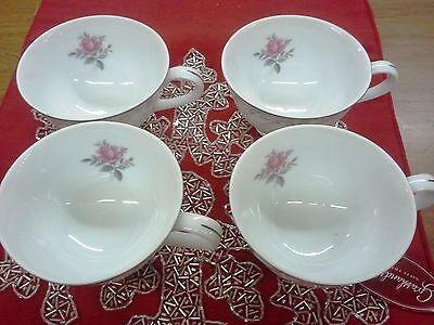 ROYAL SWIRL BY FINE CHINA OF JAPAN FOOTED CUP PINK FLOWERS ROSE, GRAY SCROLLS