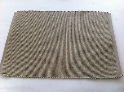 Taupe Plain Dyed 100% Cotton Rib Placemat - 33 x 48cm