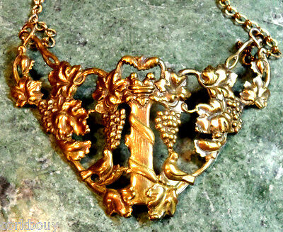 Unique Brass Necklace Doves Nesting On A Vineyard, Matching Bracelet Available