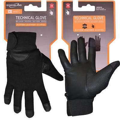 Mens and Womens Fitted Real Leather Touch-Screen Gloves with Spandex Driving