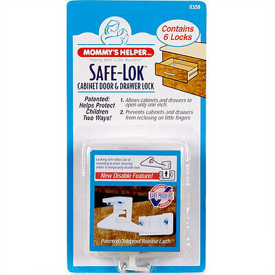 Mommy's Helper 6 Pack Quick Disable Drawer & Cabinet Door Latch Safe-Lok 88507