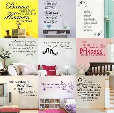 DIY Removable Vinyl Quote Words Wall Stickers Art Mural Decals Room Home Decor