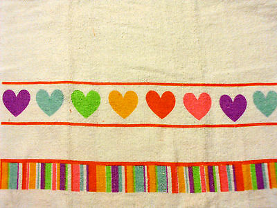 Kitchen Dish Towels W Crochet Tops  listing # t424 Valentines Day Hearts