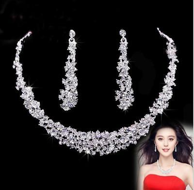 Fashion necklace Jewelry set prom party Rhinestone crystal Bridal long earrings