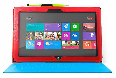 Red Leather Stand Case For Microsoft Surface Tab RT & 2 Way Green Pen/Stylus