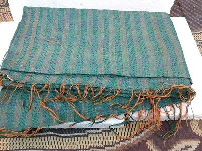 VINTAGE PURE SILK HAND QUILTED KANTHA BEST STOLES REVERSIBLE SCARVES HIJAB SCARF