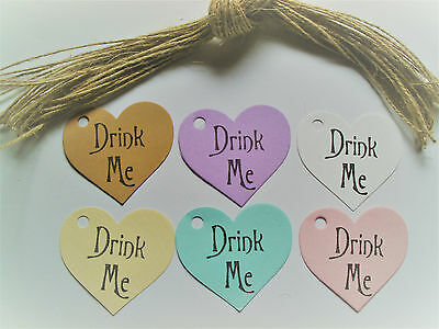30 Vintage Style Heart ShapeTags'Drink Me' Wine Bottles,Party Bags,Gifts + Twine