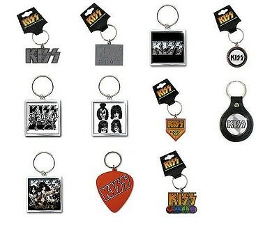 * KISS - OFFICIAL METAL RUBBER LEATHER KEYRING - alive army logo icons graphite