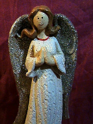 PRAYING ANGEL WHITE LONG GOWN SILVER GLITTER WINGS LONG BROWN HAIR HOME DECOR