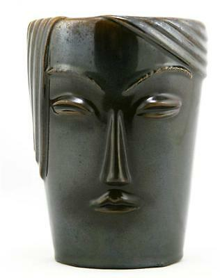 "WELLER NOVELTY LINE 6"" 'WOMAN'S FACE' VASE IN RICH BROWN GLAZE W/IRIDIZED FINISH"