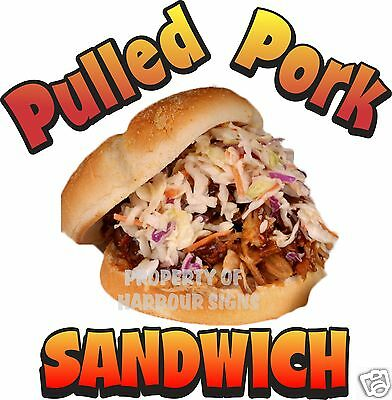 """Pulled Pork Sandwich Decal 14"""" BBQ Barbeque Restaurant Concession Food Truck"""