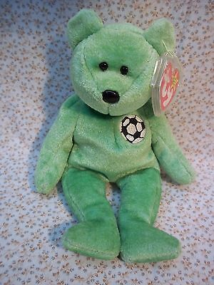 "TY Beanie Babies 8"" Tall Soccer Teddy Bear ** KICKS ** New w/ Tag"