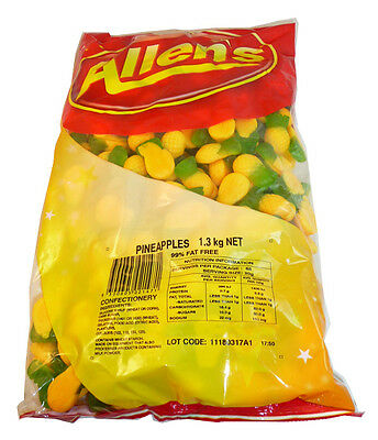 Allens Lollies Pineapples - Big 1.3 Kg Bag!