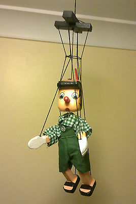 Pinocchio Wooden Marrionette Puppet Hand Made Dressed Approx Hght 25cm Gift Idea