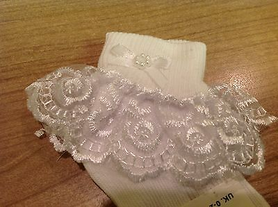 6 Pairs Girls and Baby Frilly Lace Top Socks with Bow in White or Cream