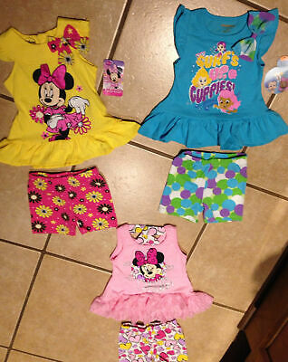 NWT Cute Disney Girls Yellow Pink Minnie Mouse Tunic Top Short Set Sizes  2T-4T