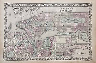 1872 NEW YORK CITY PLAN - ANTIQUE MITCHELL MAP - USA, America, fine hand colour