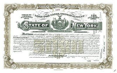 State of NY Loan for Canal Improvement, issued to estate Frederick Vanderbilt