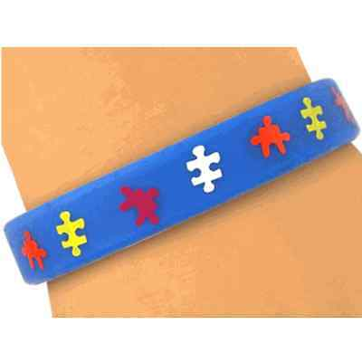 """Genuine Autism """"connecting The Pieces"""" Jigsaw Wristband"""