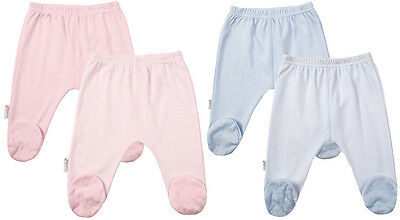 2 Pk Kushies Girls Boys 100% Cotton Basic Baby Footed Pants 0-3-6 Months 533538