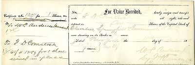 1st Stock Share Certificate Issued by Columbus, Springfield & Cincinnati RR 1896