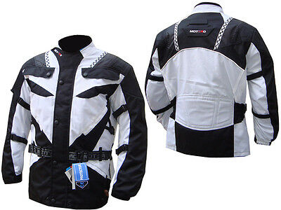 Motorcycle Motorbike CE Approved Armoured waterproof CorduraTextile Jacket WHITE