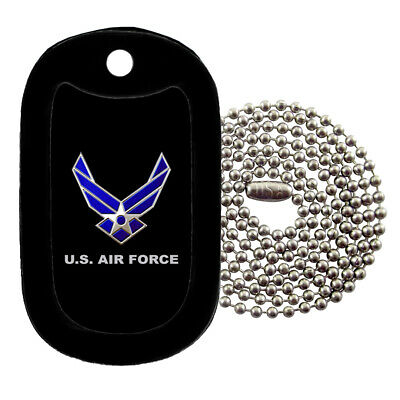 Military Dog Tag Necklace -  U.S. Air Force with a Dog Tag Silencer