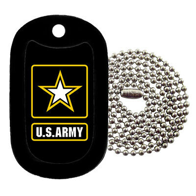 Military Dog Tag Necklace -  U.S. Army Dog Tag with a Dog Tag Silencer