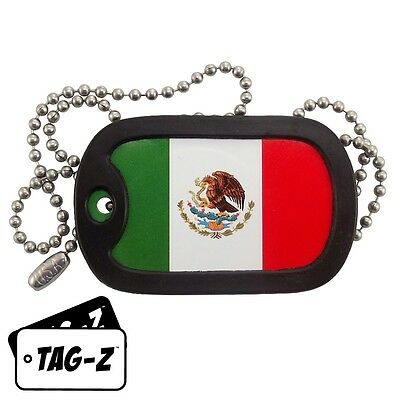 Military Dog Tag Necklace -  Mexican Flag Dog Tag with a Dog Tag Silencer