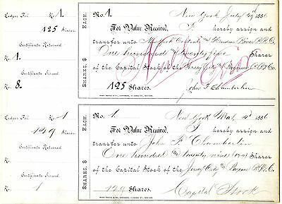 1st Stock Cert Issued to John F Chamberlin & NY Central & Hudson River RR 1886