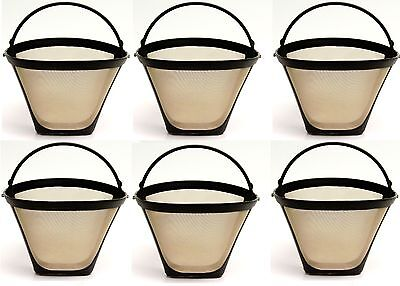 6 PACK Universal Gold Tone Permanent #4 Cone Coffee Filter Fits Cuisinart Brewer