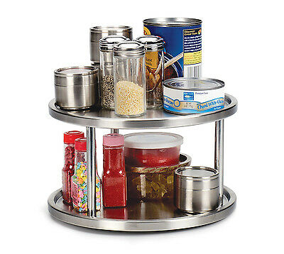 RSVP Two Tier Turntable Organzer Lazy Susan Stainless Steel Spice canned jams