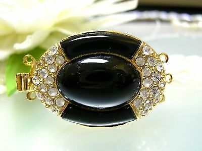 Vintage oval & curved Onyx / Hematite / CZ big fancy gold plated clasp