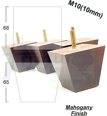 4x WOODEN MAHOGANY FURNITURE LEGS FEET FOR SOFAS SETTEES CHAIRS & FOOTSTOOLS M10
