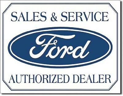 """16"""" X 12 1/2"""" Tin Sign Ford Sales & Services Authorized Dealer Metal Sign New"""