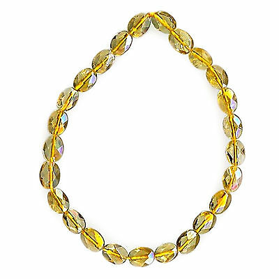 """CITRINE Faceted Flat Ovals 8x6mm Golden Yellow 8"""" Gemstone Bead Strand 32cts, tw"""