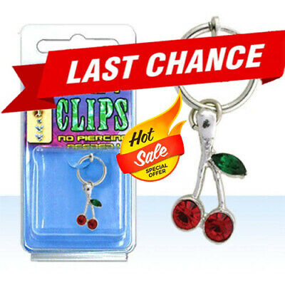 Cute Clip On Belly Button Jewelry No Piercing Needed w/ Dangling Cherries OS US