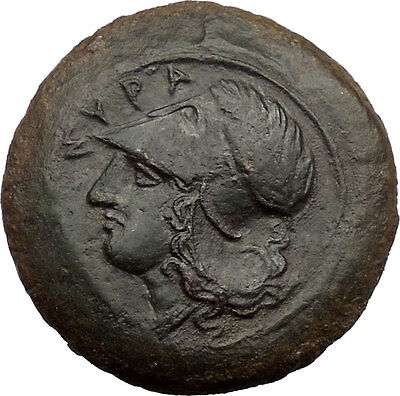 SICILY: SYRACUSE,406 BC.Authentic Beautiful Ancient Greek Coin: 2 Dolphins.Rare