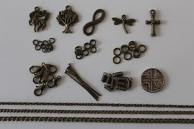 Antique Bronze Effect Chain, Jump Ring, Lobster Clasp, Coil Spring, Charms, Pins