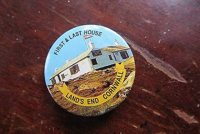 First & Last House, Land's End Cornwall, old button, pin, advertising, historica
