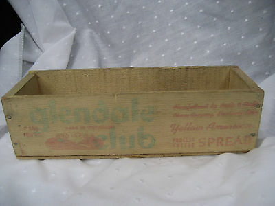 Antique wooden cheese box Glendale Club yellow american process cheese spread
